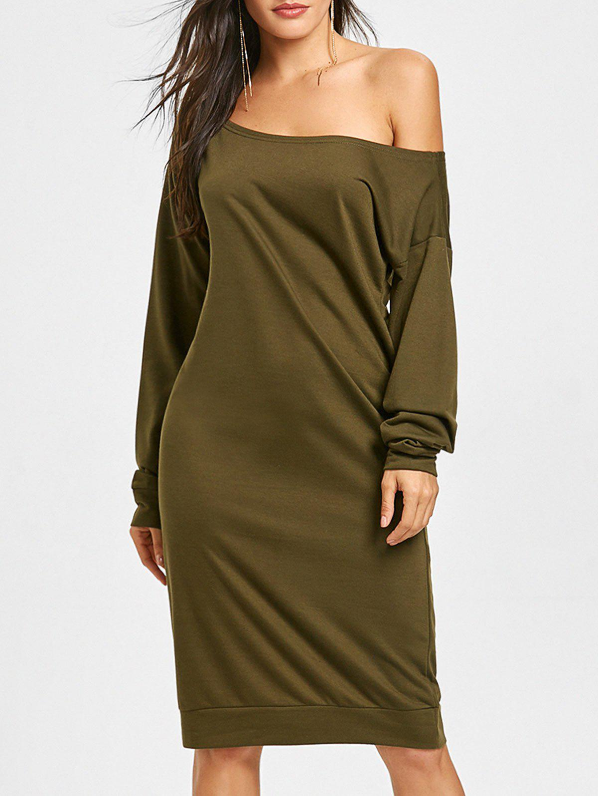 Hot Long Sleeve Skew Collar Sweatshirt Dress