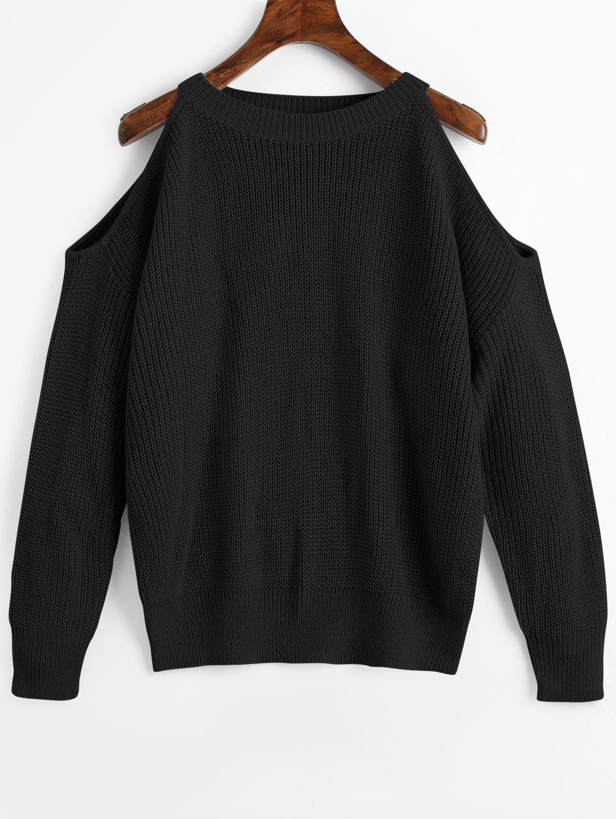Sale Cold Shoulder Crew Neck Pullover Sweater