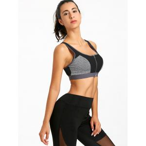 Sports Color Block Zip Up Racerback Bra -