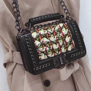 Chain Color Block Splicing Crossbody Bag -
