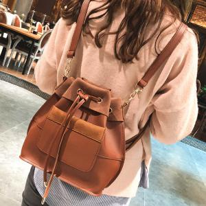 PU Leather Multi Function String Crossbody Bag -