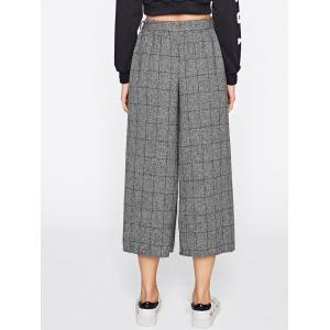 Checked Wide Leg Pants with Belt -