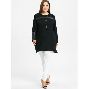Plus Size Faux Leather Insert Tunic Top -