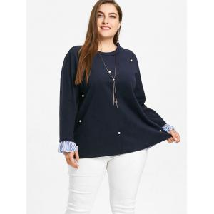 Plus Size Striped Insert Faux Pearl Embellished Blouse -