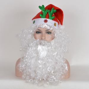 Santa Claus Cosplay Short Fluffy Curly Synthetic Wig With Beard and Cap -