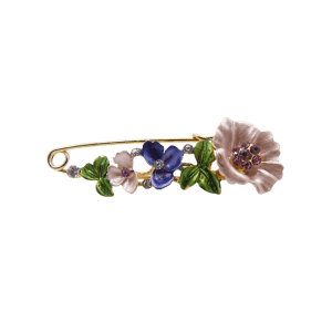 Flower Faux Diamond Brooch Pin -