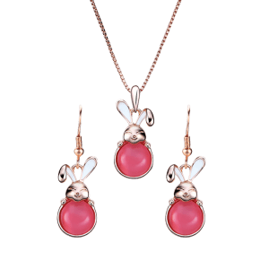 Faux Gemstone Bunny Pendant Necklace with Earrings -