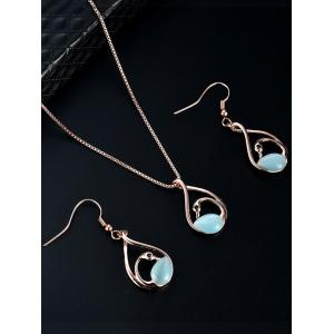 Hollow Out Swan Pendant Necklace with Earrings -