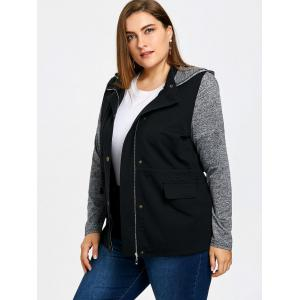 Plus Size Hooded Drawstring Jacket -