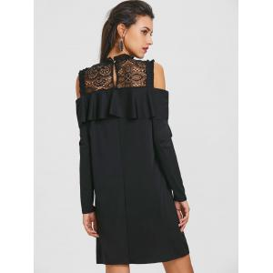 Long Sleeve Cold Shoulder Lace Yoke Dress -
