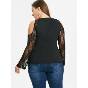 Plus Size Cold Shoulder Graphic Blouse -