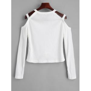 Ribbed Cold Shoulder Knitted Top -