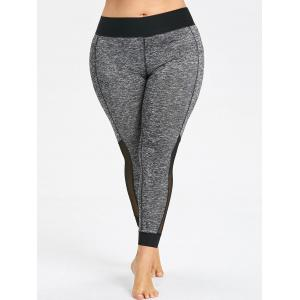 Plus Size Heathered Mesh Panel Leggings -