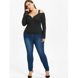 Plus Size Open Shoulder Sweetheart Neck Top -