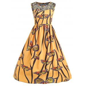 Lace Yoke Butterfly Print Plus Size Dress -