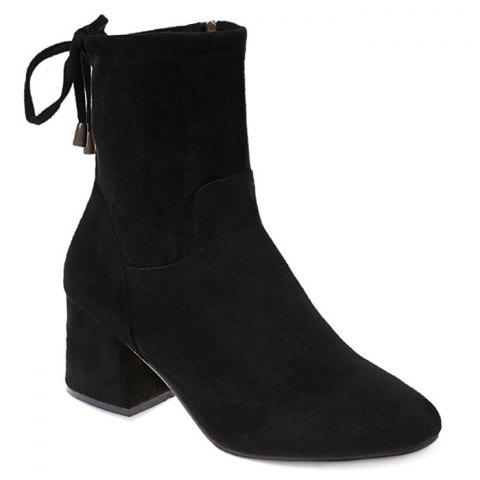 Back Lace Up Block Heel Ankle Boots