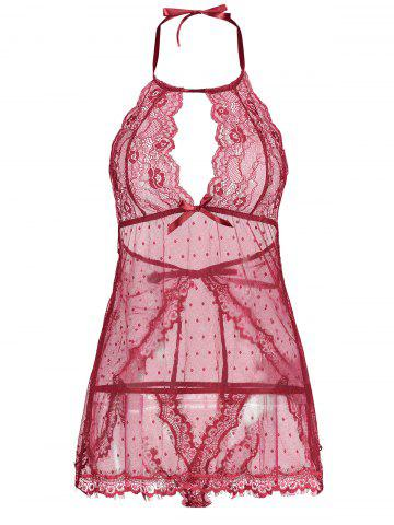 Discount Back Split Lace Sheer Lingerie Dress