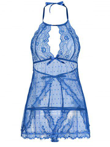 Latest Back Split Lace Sheer Lingerie Dress