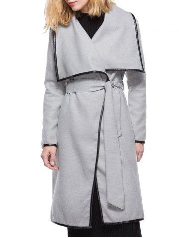 Turn Down Collar Long Coat with Belt