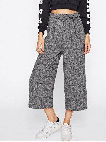 Outfits Checked Wide Leg Pants with Belt