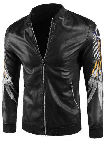 Fancy Feather Embroidery Artificial Leather Jacket