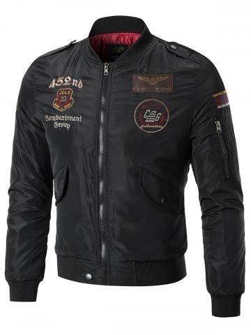 Sleeve Pocket Patches Embroidered Bomber Jacket
