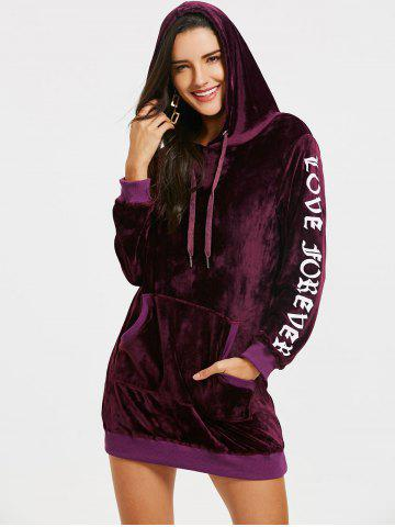 Love Forever Print Kangaroo Pocket Velvet Hoodie Dress