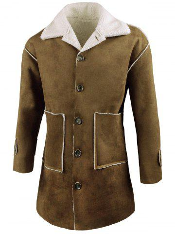 Cheap Front Pockets Single Breasted Faux Sheepskin Coat