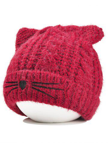 Outfit Cute Kitty Ear Embellished Crochet Knitted Beanie