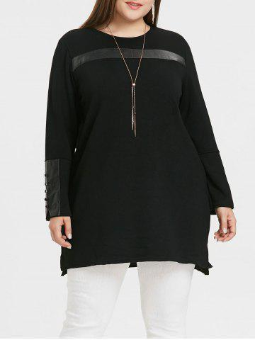 Affordable Plus Size Faux Leather Insert Tunic Top