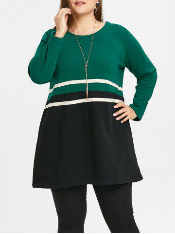 Discount Casual Plus Size Striped Tunic Top