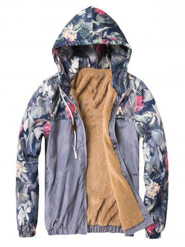 Florals Print Panel Zip Up Fleece Jacket