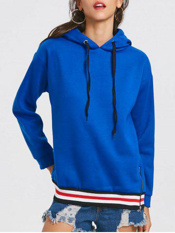 Drop Shoulder Stripe Drawstring Tunic Hoodie