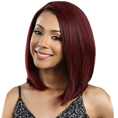 Side Parting Straight Medium Bob Capless Synthetic Wig - WINE RED
