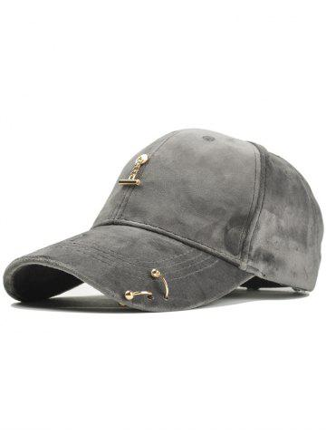 Trendy Vintage Metal Bar and Rings Embellished Baseball Hat