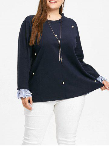 Hot Plus Size Striped Insert Faux Pearl Embellished Blouse