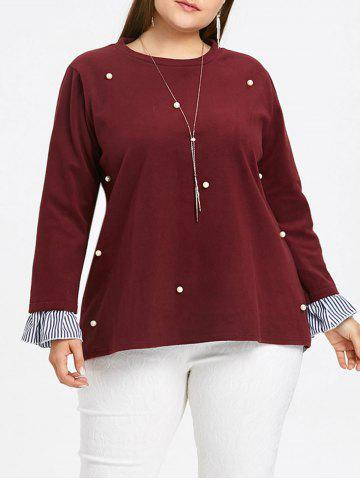 Store Plus Size Striped Insert Faux Pearl Embellished Blouse