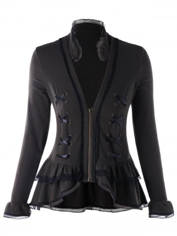 Outfits Plus Size Criss Cross Lace Trimmed Jacket