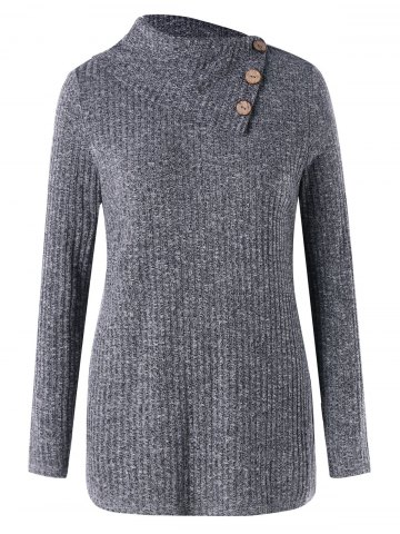 Online Plus Size Wide Flat Collar Ribbed Sweater