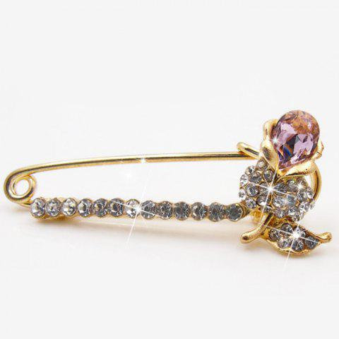 Latest Flower Faux Diamond Brooch Pin