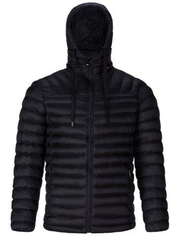Drawstring Padded Zip Up Jacket