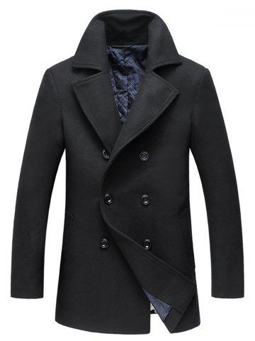 Cheap Double Breasted Woolen Padded Coat