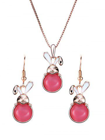 Trendy Faux Gemstone Bunny Pendant Necklace with Earrings