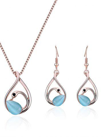 Chic Hollow Out Swan Pendant Necklace with Earrings