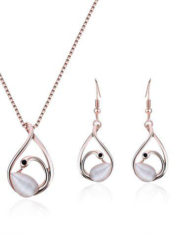 Affordable Hollow Out Swan Pendant Necklace with Earrings