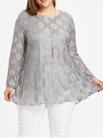 Online Plus Size Long Lace Blouse