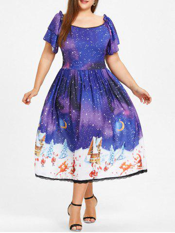 Unique Plus Size Christmas Galaxy Santa Claus Dress