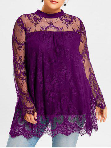 Trendy Plus Size Sheer Lace Scalloped Edge Blouse