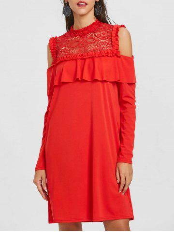 Store Cold Shoulder Ruffle Lace Trim Dress