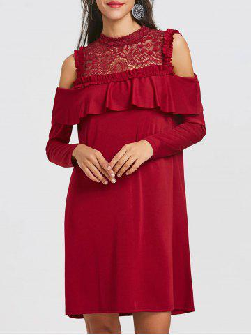 Outfits Long Sleeve Cold Shoulder Lace Yoke Dress